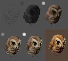 Angry baby owl Steps by elenyan