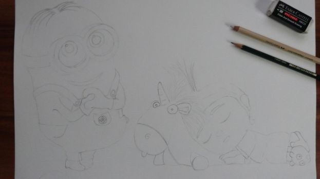 sleeping Agnes and Minion Sketch by Fivelinger