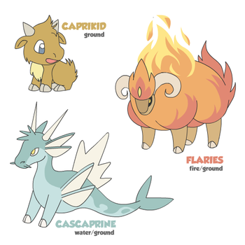 Caprikid, Cascaprine and Flaries by cobaltdragon