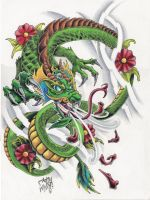 dragon and cherry blossoms by A-T-G-4