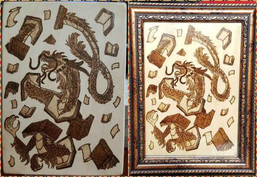 Woodburning - Chinese Dragon Librarian by Stepher17