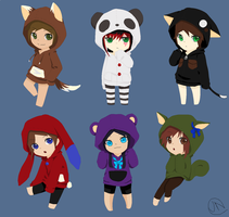 some of my OCs and I by Bramblepelt34
