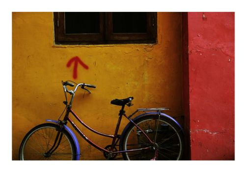 bicycle and red arrow by irenaeus-hero