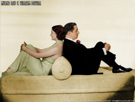 Myrna Loy and William Powell colorized by PeteNoir