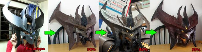 Diablo cosplay WIP - evolution of the head by Clivelee