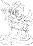 Discord and Young!Celestia - sketch by MercyAntebellum