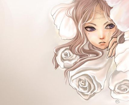 white rose by JinkiMania