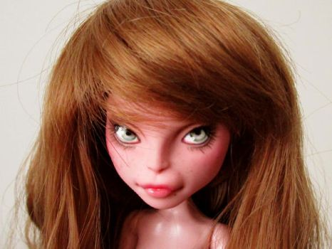 Monster high doll CAM pink cat custom repaint by hellohappycrafts