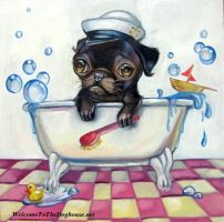 Pug in a Tub Painting by WelcomeToTheDoghouse