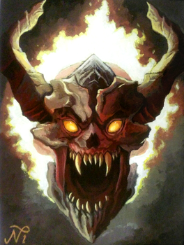DOOM Lost Soul Painting by Xous54