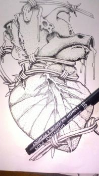 Heart in Poitilism Draw by oxymorondesigns