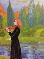 Vivaldi the Violinist by the River by Rossi-Rosedeni