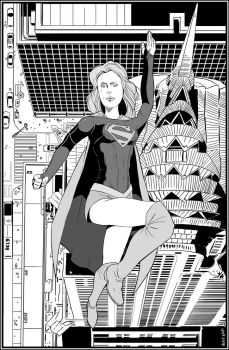 Supergirl Flying by NathanKroll