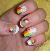 Colourful Drips Nail Art by quixii